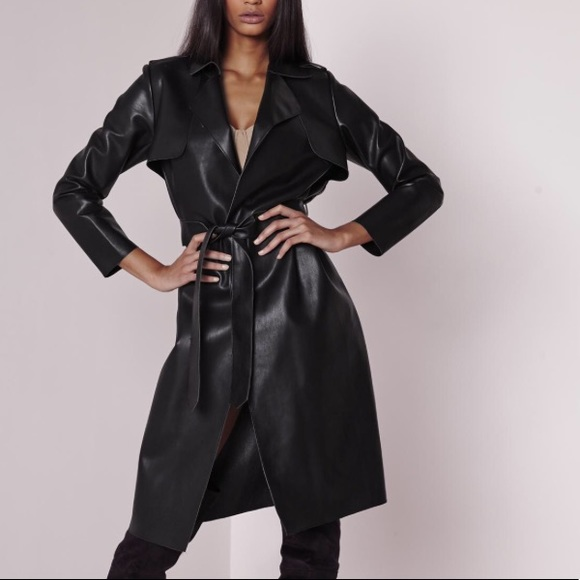 NWT Faux leather trench coat